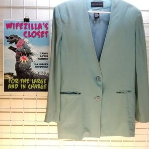 August Silk Dusty Teal Silk 2 Button Blazer Sz 14